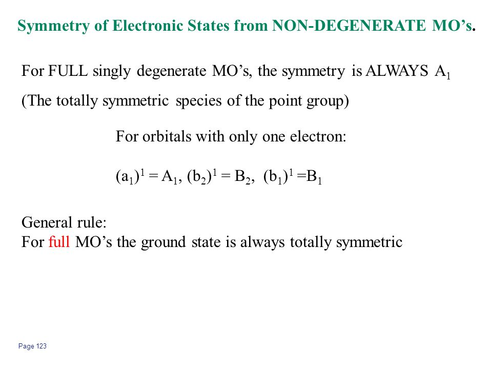 Page 123 Symmetry of Electronic States from NON-DEGENERATE MO's. For FULL singly degenerate MO's, the symmetry is ALWAYS A 1 (The totally symmetric sp