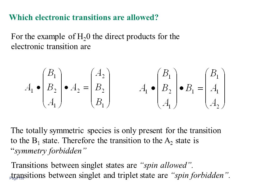 Page 130 Which electronic transitions are allowed? For the example of H 2 0 the direct products for the electronic transition are The totally symmetri