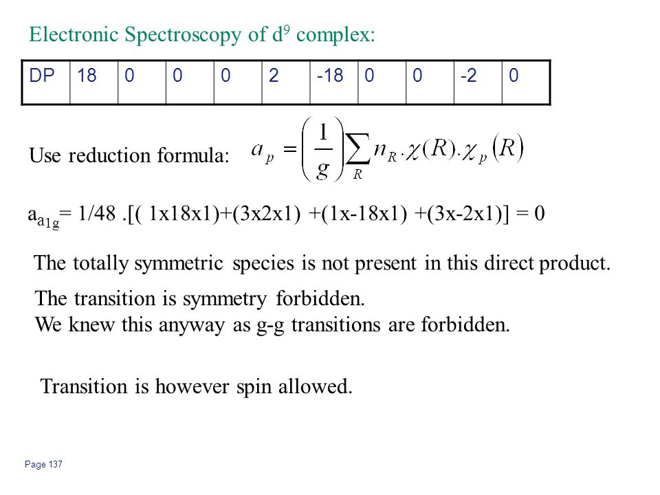Page 137 Electronic Spectroscopy of d 9 complex: DP180002-1800-20 Use reduction formula: a a 1g = 1/48.[( 1x18x1)+(3x2x1) +(1x-18x1) +(3x-2x1)] = 0 Th
