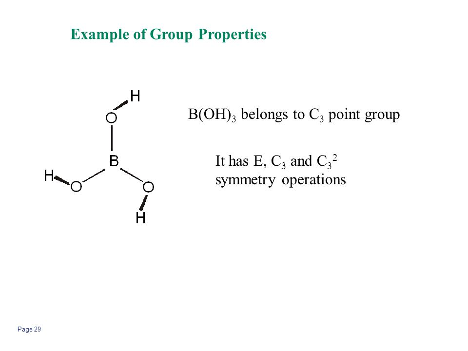 Page 29 Example of Group Properties B(OH) 3 belongs to C 3 point group It has E, C 3 and C 3 2 symmetry operations