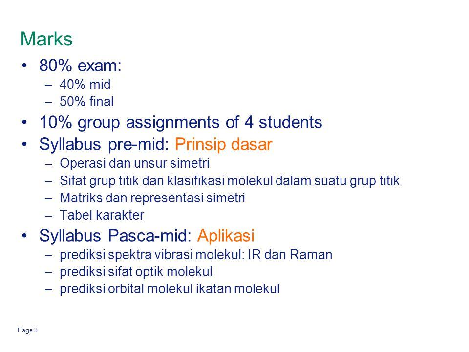 Page 3 Marks 80% exam: –40% mid –50% final 10% group assignments of 4 students Syllabus pre-mid: Prinsip dasar –Operasi dan unsur simetri –Sifat grup
