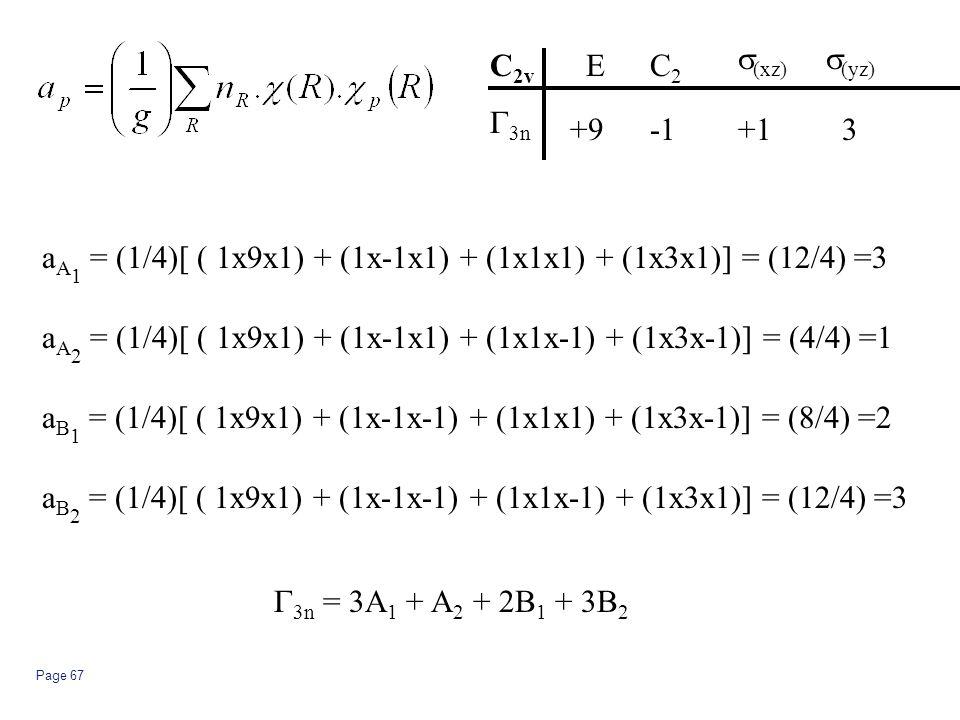 Page 67 a A 1 = (1/4)[ ( 1x9x1) + (1x-1x1) + (1x1x1) + (1x3x1)] = (12/4) =3 C 2v  3n EC2C2  (xz)  (yz) +9+13 a A 2 = (1/4)[ ( 1x9x1) + (1x-1x1) + (