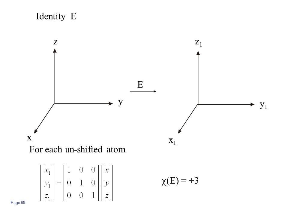 Page 69 Identity E E For each un-shifted atom  (E) = +3 z y x z1z1 y1y1 x1x1