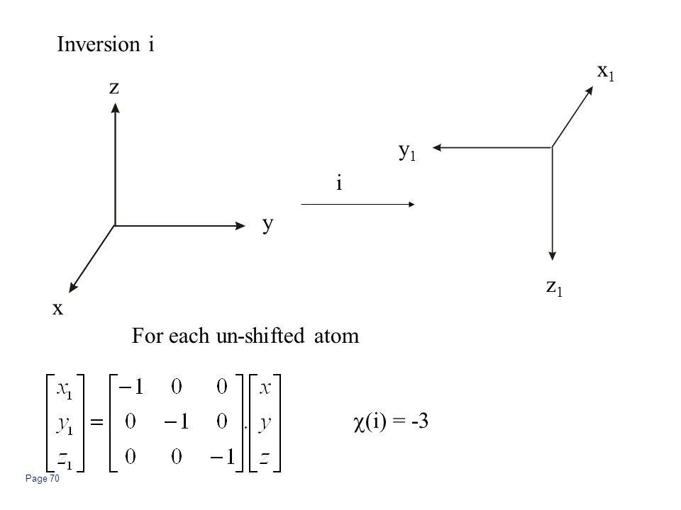 Page 70 Inversion i z y x z1z1 y1y1 x1x1 i For each un-shifted atom  (i) = -3