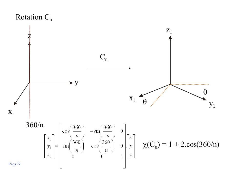 Page 72   360/n x1x1 y1y1 z1z1 z y x CnCn Rotation C n  (C n ) = 1 + 2.cos(360/n)