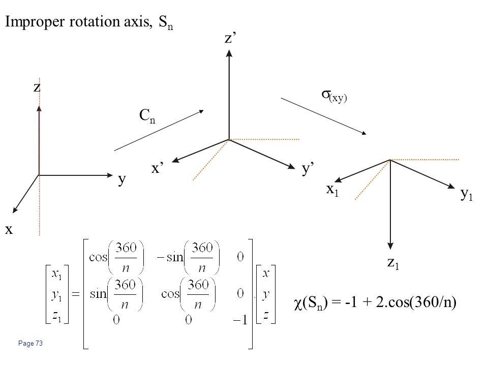 Page 73  (S n ) = -1 + 2.cos(360/n) Improper rotation axis, S n CnCn  (xy) z y x z' y'x' y1y1 x1x1 z1z1
