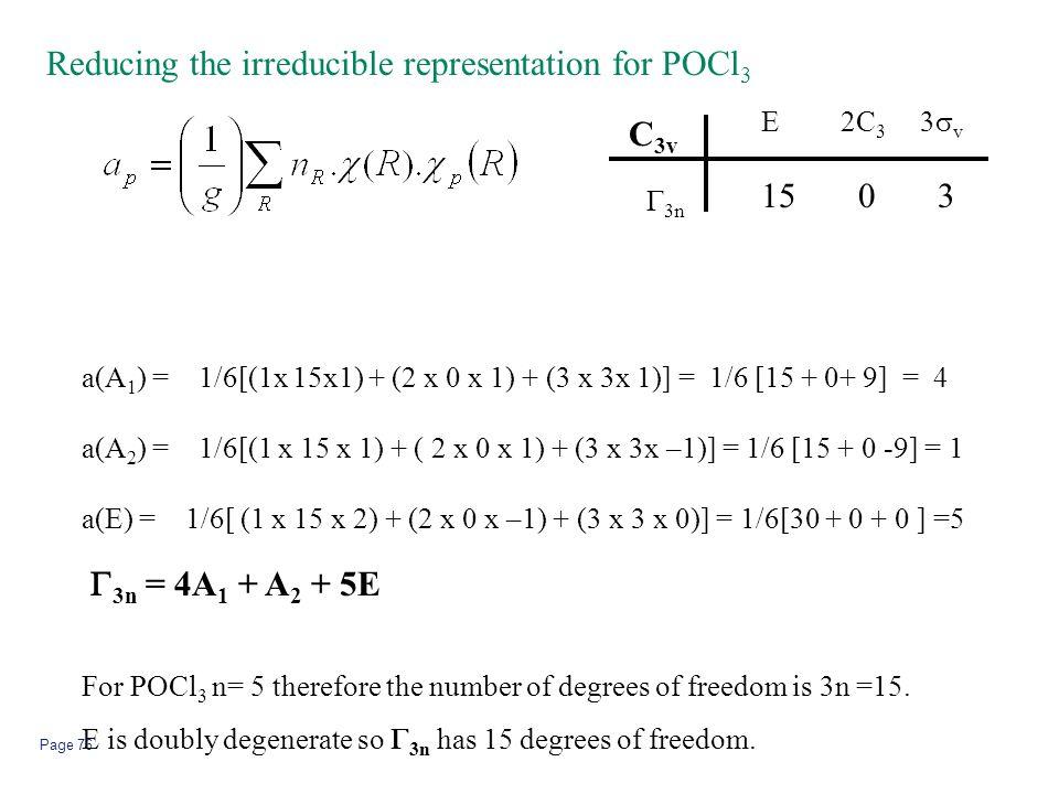 Page 76 Reducing the irreducible representation for POCl 3 2C 3 C 3v E  v  3n 1503 a(A 1 ) = 1/6[(1x 15x1) + (2 x 0 x 1) + (3 x 3x 1)] = 1/6 [15 +
