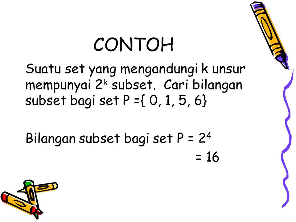 CONTOH Suatu set yang mengandungi k unsur mempunyai 2 k subset.