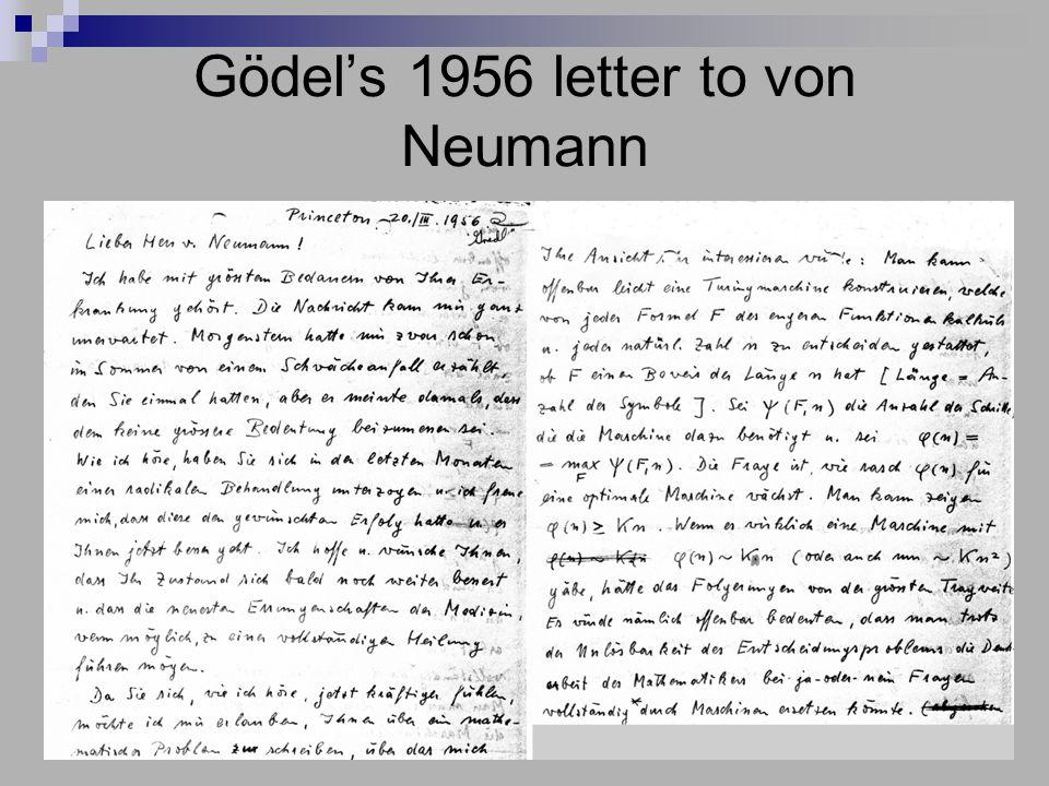 Gödel's 1956 letter to von Neumann