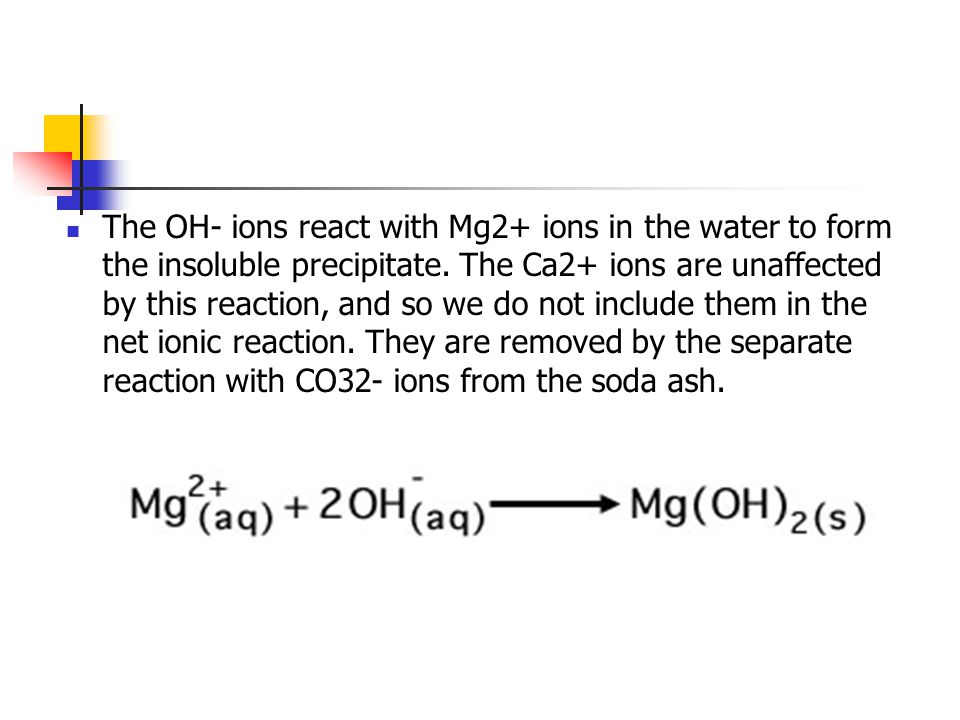 The OH- ions react with Mg2+ ions in the water to form the insoluble precipitate.