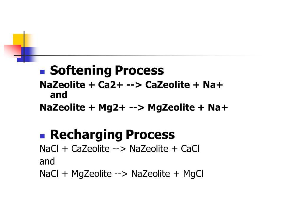 Softening Process NaZeolite + Ca2+ --> CaZeolite + Na+ and NaZeolite + Mg2+ --> MgZeolite + Na+ Recharging Process NaCl + CaZeolite --> NaZeolite + Ca