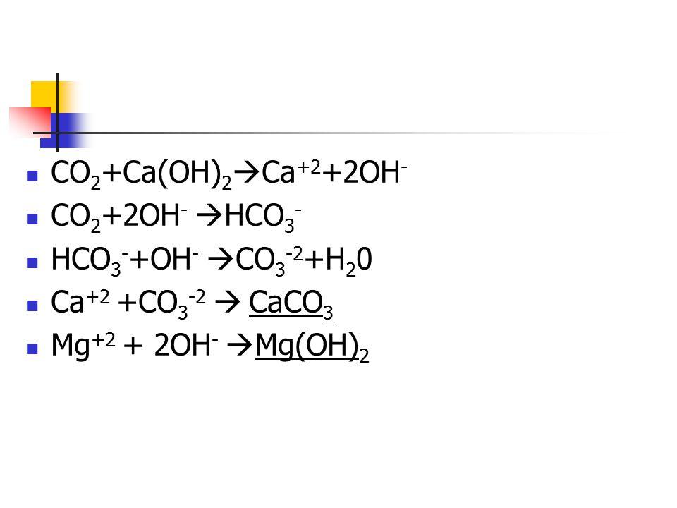 CO 2 +Ca(OH) 2  Ca +2 +2OH - CO 2 +2OH -  HCO 3 - HCO 3 - +OH -  CO 3 -2 +H 2 0 Ca +2 +CO 3 -2  CaCO 3 Mg +2 + 2OH -  Mg(OH) 2