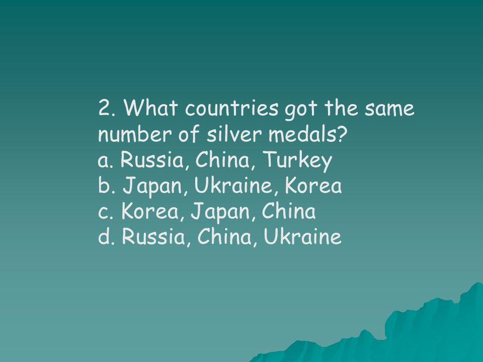 2. What countries got the same number of silver medals.