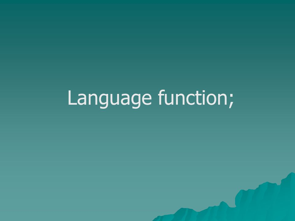 Language function;