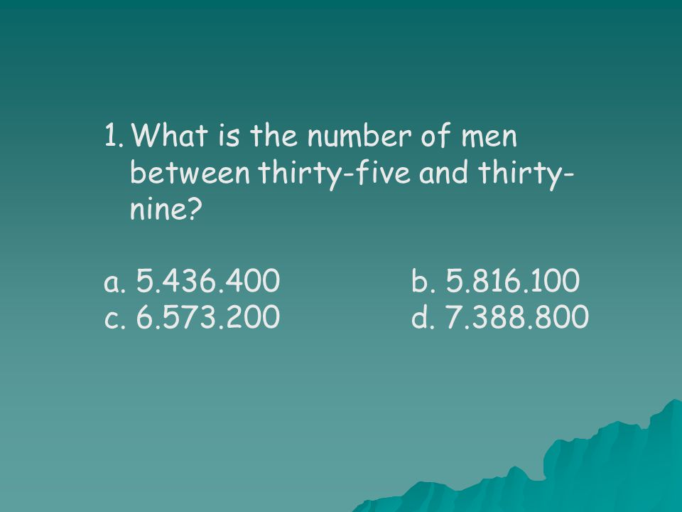 1.What is the number of men between thirty-five and thirty- nine.