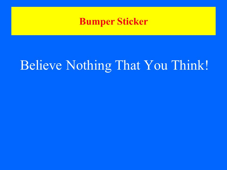 Bumper Sticker Believe Nothing That You Think!