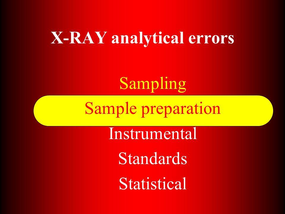 X-RAY analytical errors Sampling Sample preparation Instrumental Standards Statistical