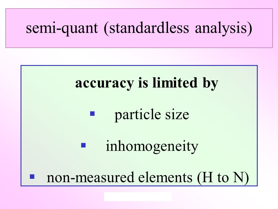 semi-quant (standardless analysis) accuracy is limited by  particle size  inhomogeneity  non-measured elements (H to N)