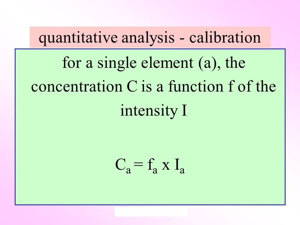 quantitative analysis - calibration for a single element (a), the concentration C is a function f of the intensity I C a = f a x I a