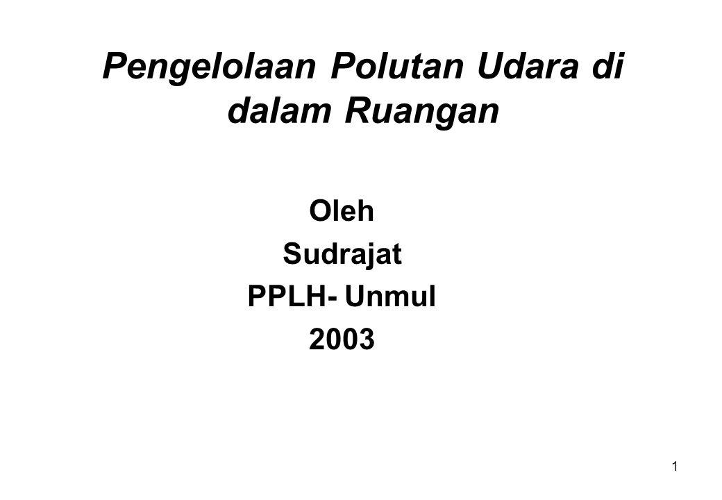 1 Pengelolaan Polutan Udara di dalam Ruangan Oleh Sudrajat PPLH- Unmul 2003