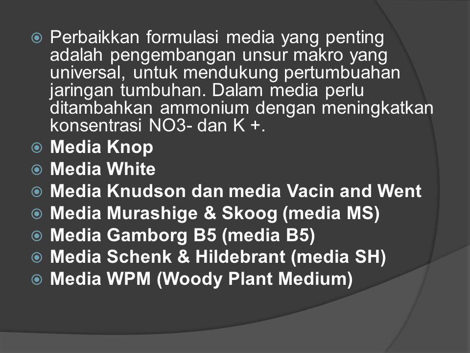  Perbaikkan formulasi media yang penting adalah pengembangan unsur makro yang universal, untuk mendukung pertumbuahan jaringan tumbuhan. Dalam media