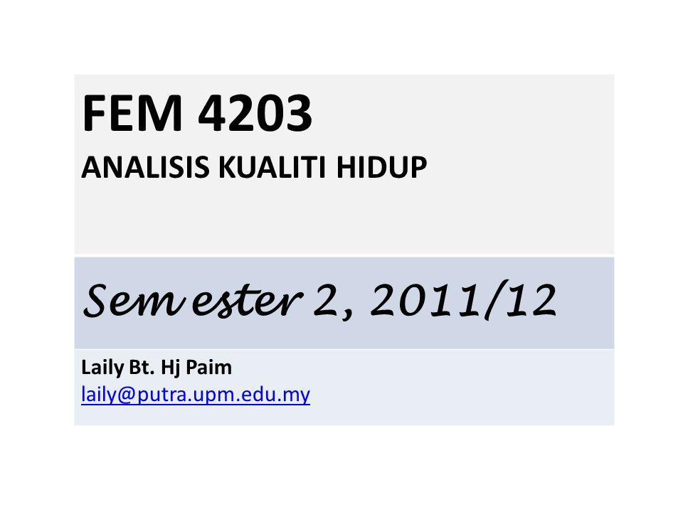 FEM 4203 ANALISIS KUALITI HIDUP Sem ester 2, 2011/12 Laily Bt. Hj Paim laily@putra.upm.edu.my