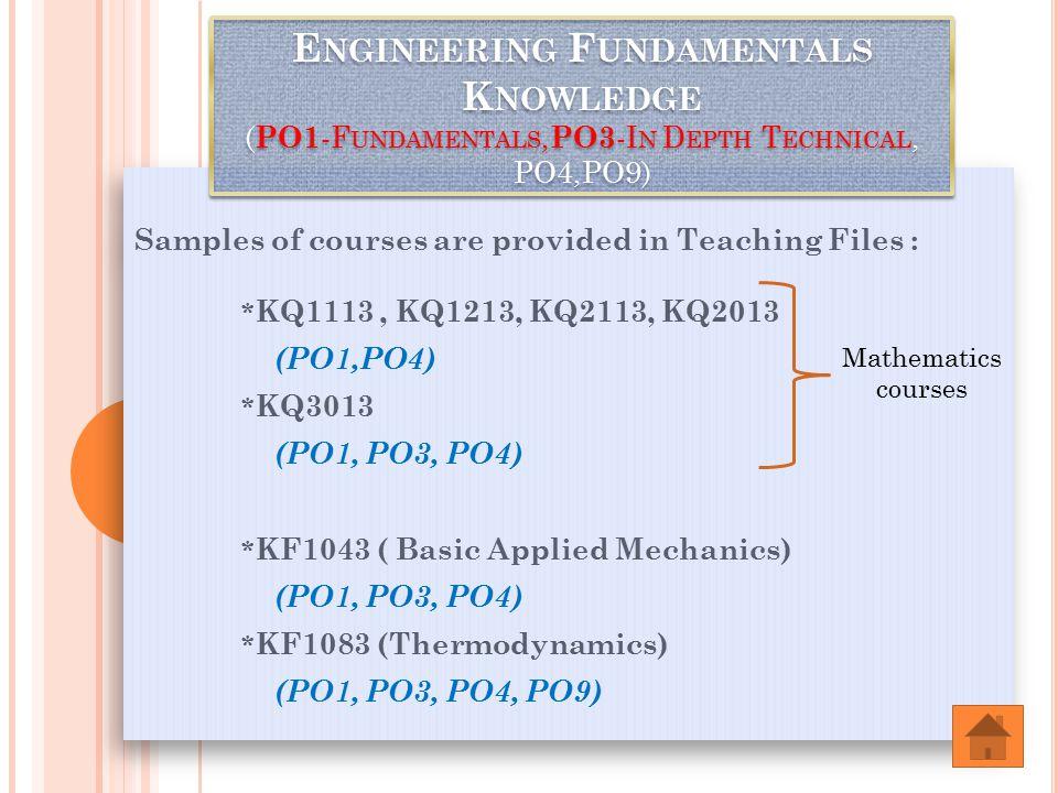 Samples of courses are provided in Teaching Files : * KQ1113, KQ1213, KQ2113, KQ2013 (PO1,PO4) * KQ3013 (PO1, PO3, PO4) * KF1043 ( Basic Applied Mechanics) (PO1, PO3, PO4) * KF1083 (Thermodynamics) (PO1, PO3, PO4, PO9) Samples of courses are provided in Teaching Files : * KQ1113, KQ1213, KQ2113, KQ2013 (PO1,PO4) * KQ3013 (PO1, PO3, PO4) * KF1043 ( Basic Applied Mechanics) (PO1, PO3, PO4) * KF1083 (Thermodynamics) (PO1, PO3, PO4, PO9) E NGINEERING F UNDAMENTALS K NOWLEDGE ( PO1 -F UNDAMENTALS, PO3 -I N D EPTH T ECHNICAL, PO4,PO9) Mathematics courses