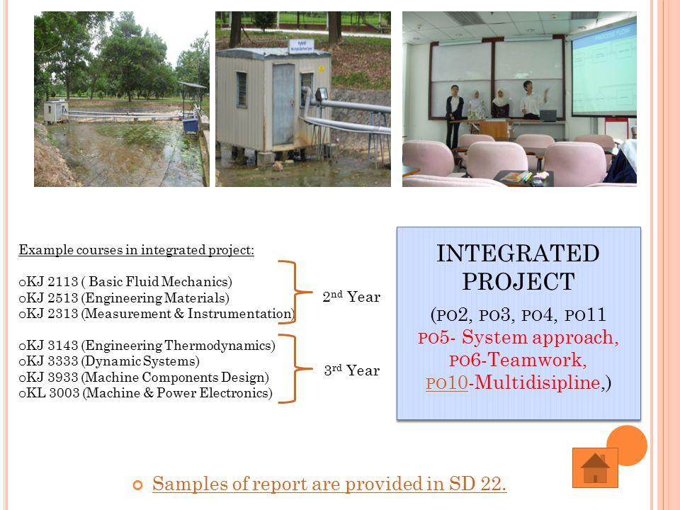 INTEGRATED PROJECT ( PO 2, PO 3, PO 4, PO 11 PO 5- System approach, PO 6-Teamwork, PO 10-Multidisipline,) PO 10 INTEGRATED PROJECT ( PO 2, PO 3, PO 4, PO 11 PO 5- System approach, PO 6-Teamwork, PO 10-Multidisipline,) PO 10 Samples of report are provided in SD 22.