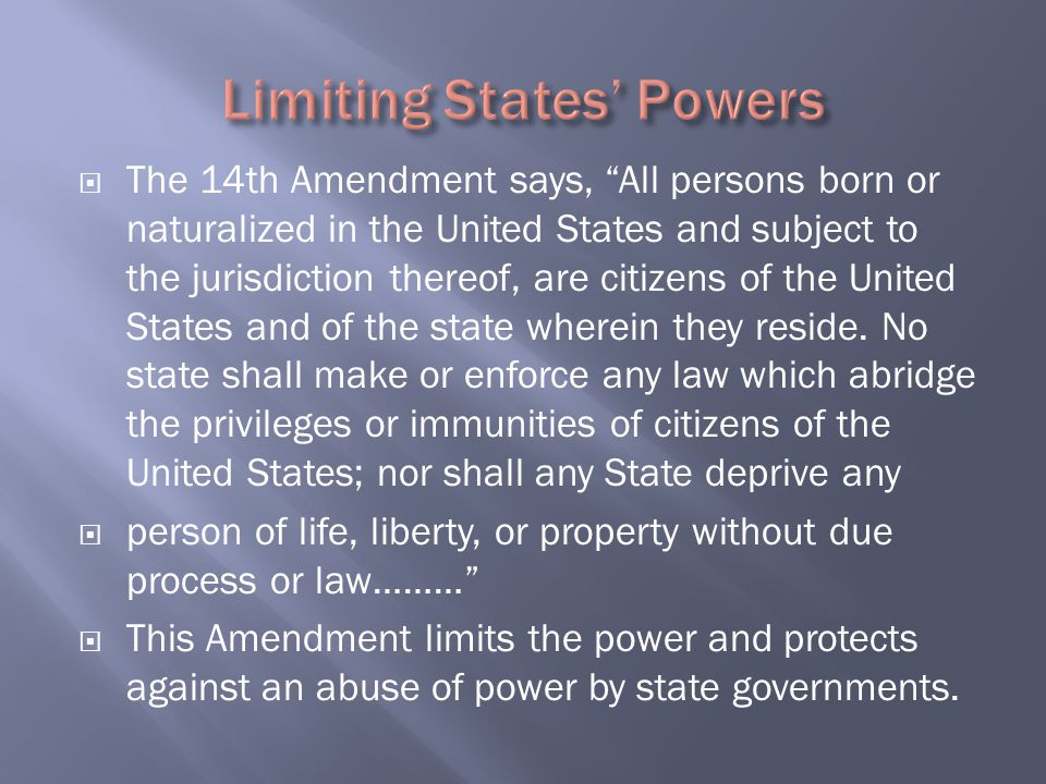 " The 14th Amendment says, ""All persons born or naturalized in the United States and subject to the jurisdiction thereof, are citizens of the United S"