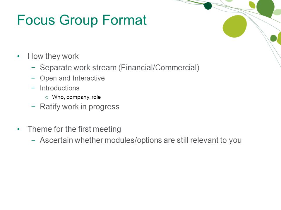 Focus Group Format How they work −Separate work stream (Financial/Commercial) −Open and Interactive −Introductions o Who, company, role −Ratify work in progress Theme for the first meeting −Ascertain whether modules/options are still relevant to you