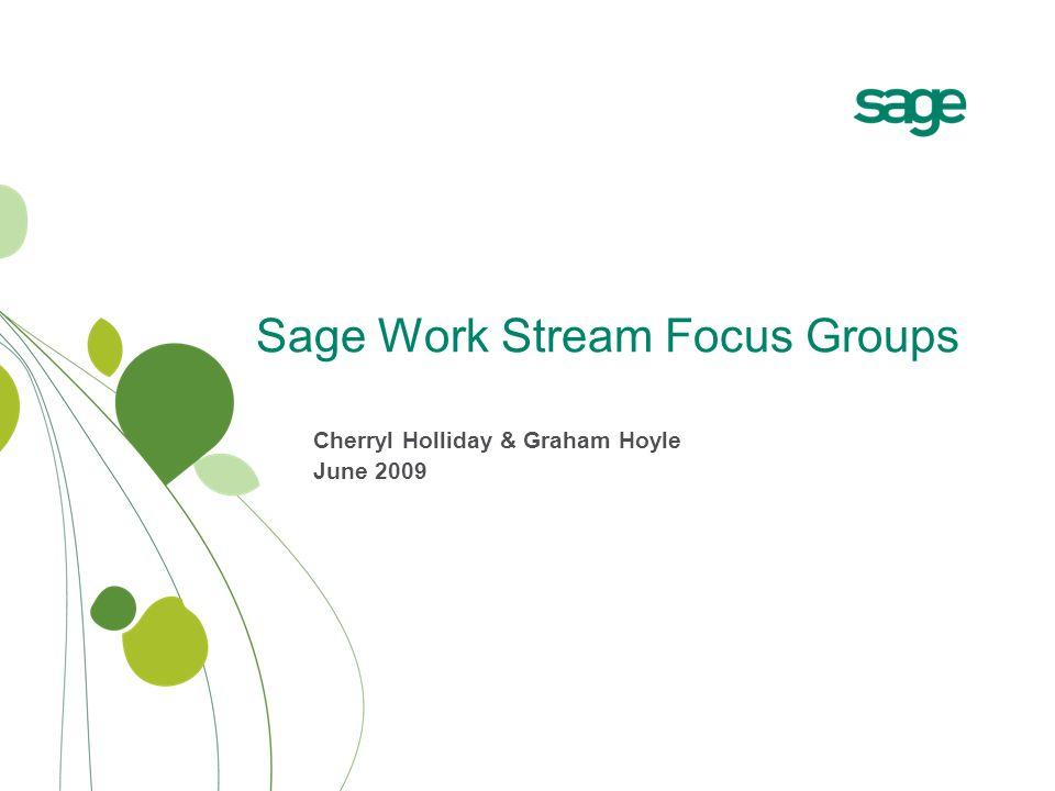 Sage Work Stream Focus Groups Cherryl Holliday & Graham Hoyle June 2009