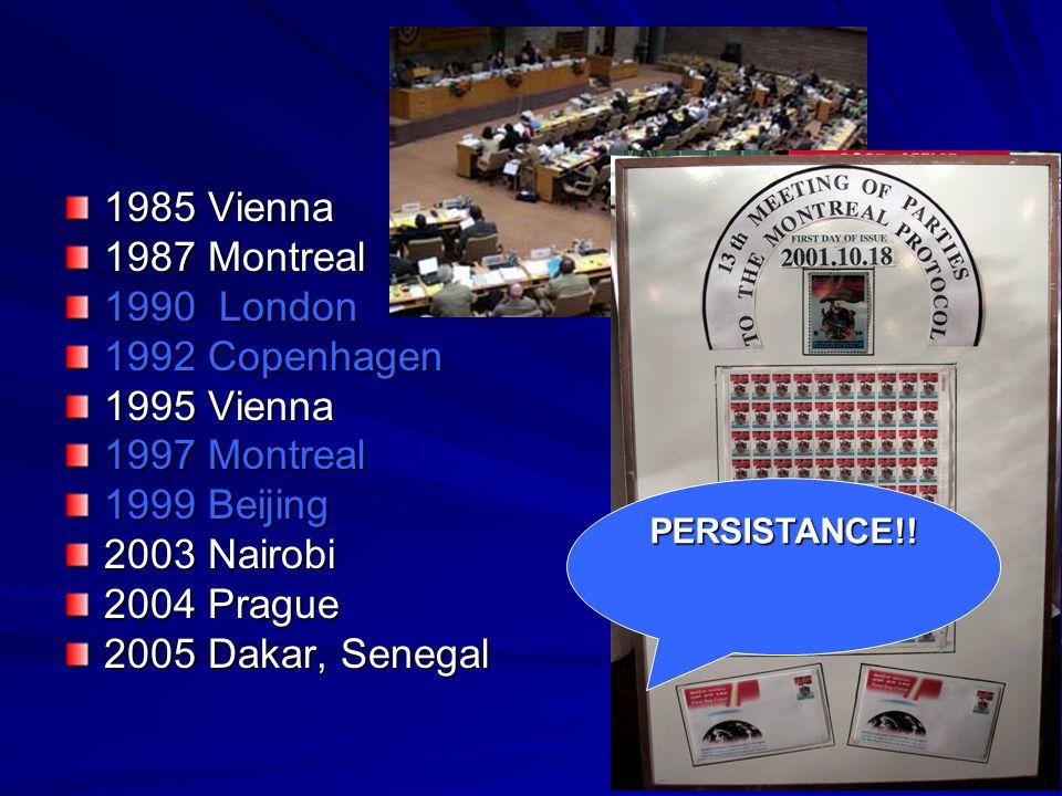 1985 Vienna 1987 Montreal 1990 London 1992 Copenhagen 1995 Vienna 1997 Montreal 1999 Beijing 2003 Nairobi 2004 Prague 2005 Dakar, Senegal PERSISTANCE!!