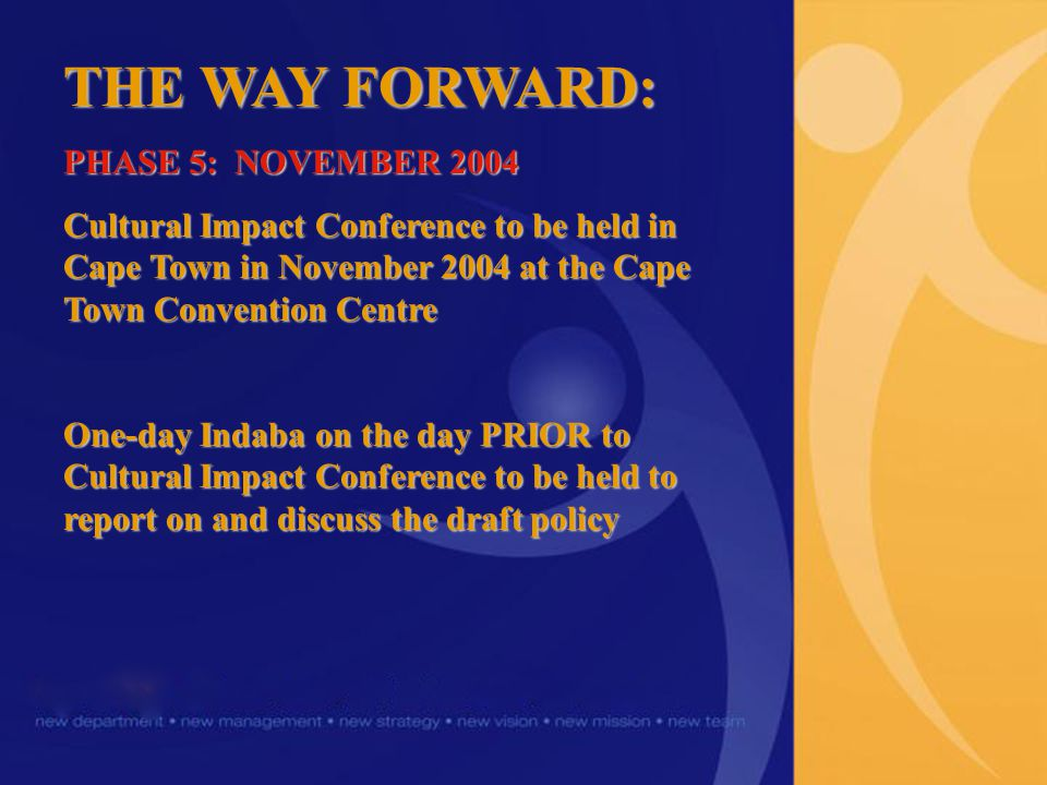 THE WAY FORWARD: PHASE 5: NOVEMBER 2004 Cultural Impact Conference to be held in Cape Town in November 2004 at the Cape Town Convention Centre One-day Indaba on the day PRIOR to Cultural Impact Conference to be held to report on and discuss the draft policy