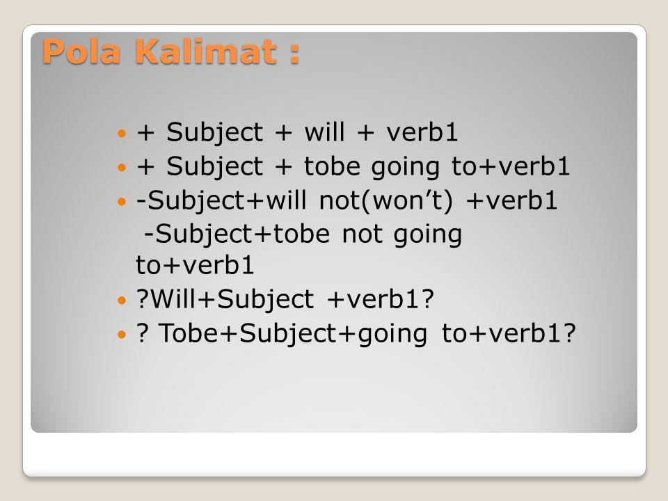 Pola Kalimat : + Subject + will + verb1 + Subject + tobe going to+verb1 -Subject+will not(won't) +verb1 -Subject+tobe not going to+verb1 ?Will+Subject +verb1.