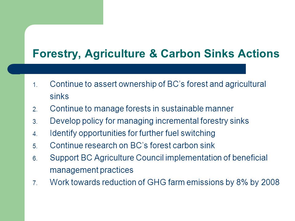 Forestry, Agriculture & Carbon Sinks Actions 1.