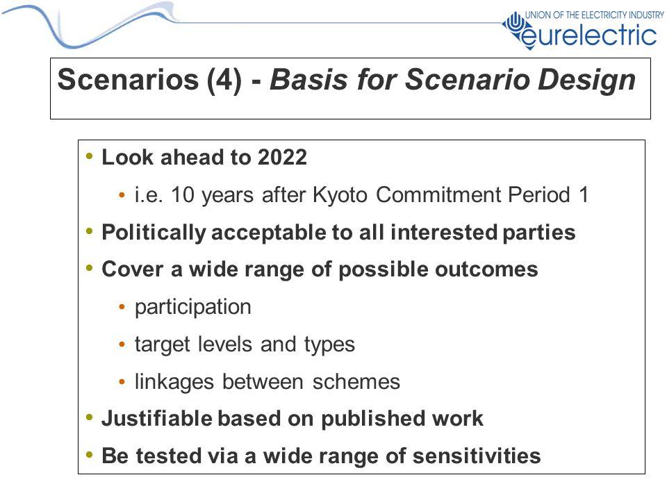 Scenarios (4) - Basis for Scenario Design Look ahead to 2022 i.e.