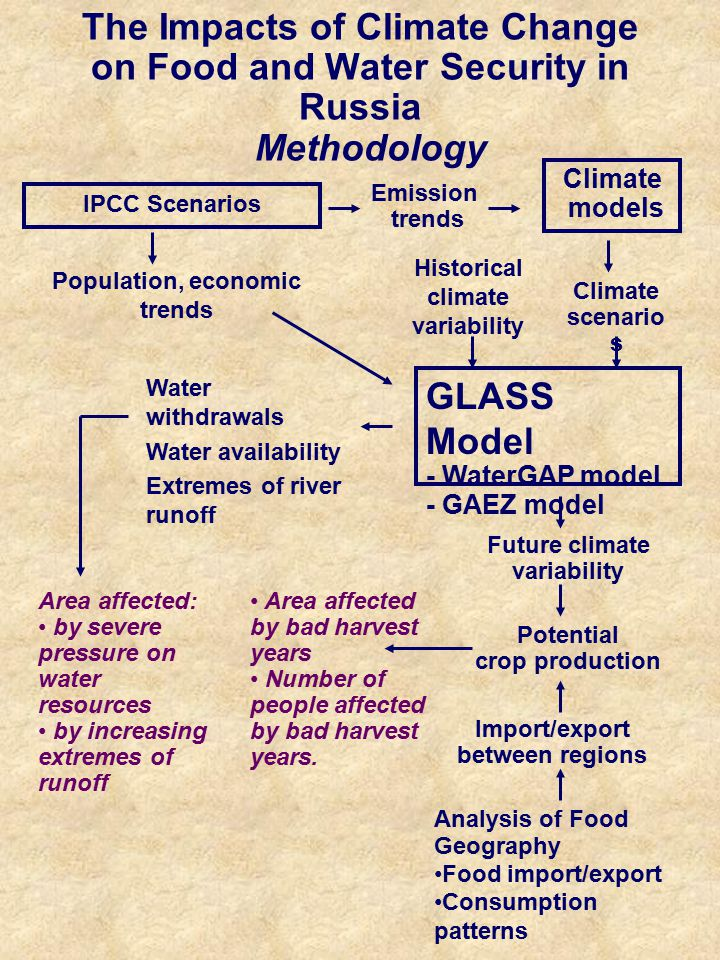 The Impacts of Climate Change on Food and Water Security in Russia Methodology IPCC Scenarios Analysis of Food Geography Food import/export Consumption patterns Climate models Population, economic trends GLASS Model - WaterGAP model - GAEZ model Emission trends Climate scenario s Potential crop production Water withdrawals Water availability Extremes of river runoff Historical climate variability Import/export between regions Area affected: by severe pressure on water resources by increasing extremes of runoff Area affected by bad harvest years Number of people affected by bad harvest years.