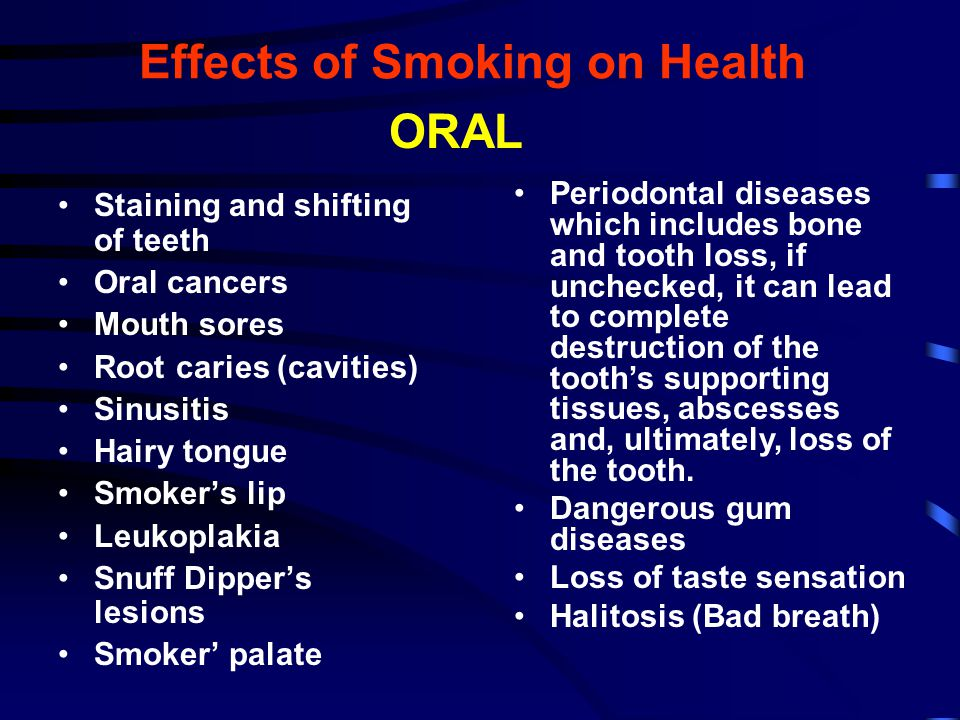 Staining and shifting of teeth Oral cancers Mouth sores Root caries (cavities) Sinusitis Hairy tongue Smoker's lip Leukoplakia Snuff Dipper's lesions