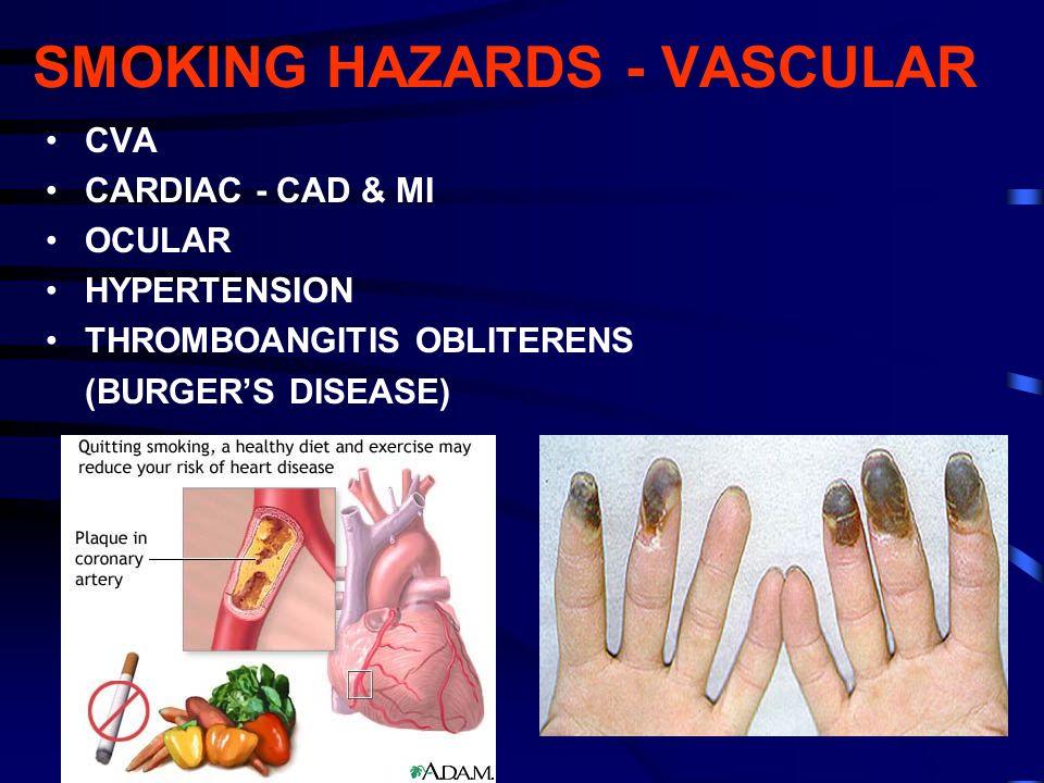 SMOKING HAZARDS - VASCULAR CVA CARDIAC - CAD & MI OCULAR HYPERTENSION THROMBOANGITIS OBLITERENS (BURGER'S DISEASE)