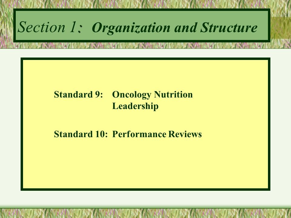 : Section 1: Organization and Structure Standard 9:Oncology Nutrition Leadership Standard 10:Performance Reviews