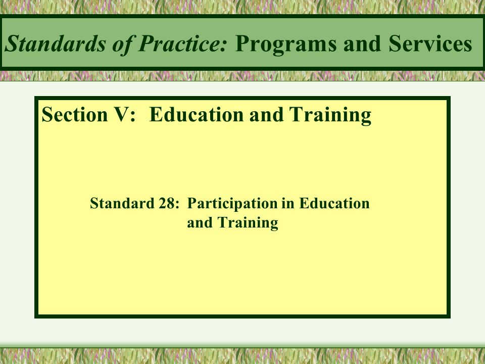 Standards of Practice: Programs and Services Section V: Education and Training Standard 28:Participation in Education and Training