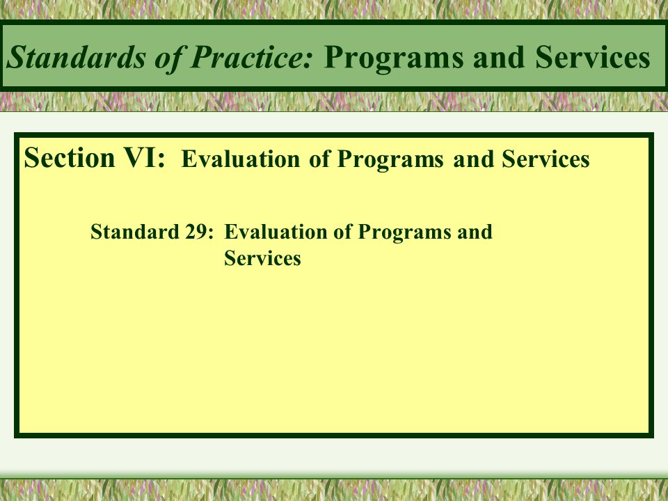 Standards of Practice: Programs and Services Section VI: Evaluation of Programs and Services Standard 29:Evaluation of Programs and Services