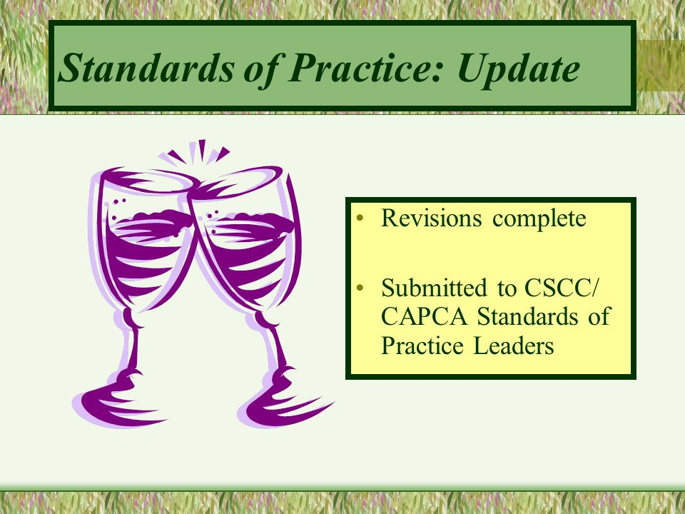 Standards of Practice: Update Revisions complete Submitted to CSCC/ CAPCA Standards of Practice Leaders