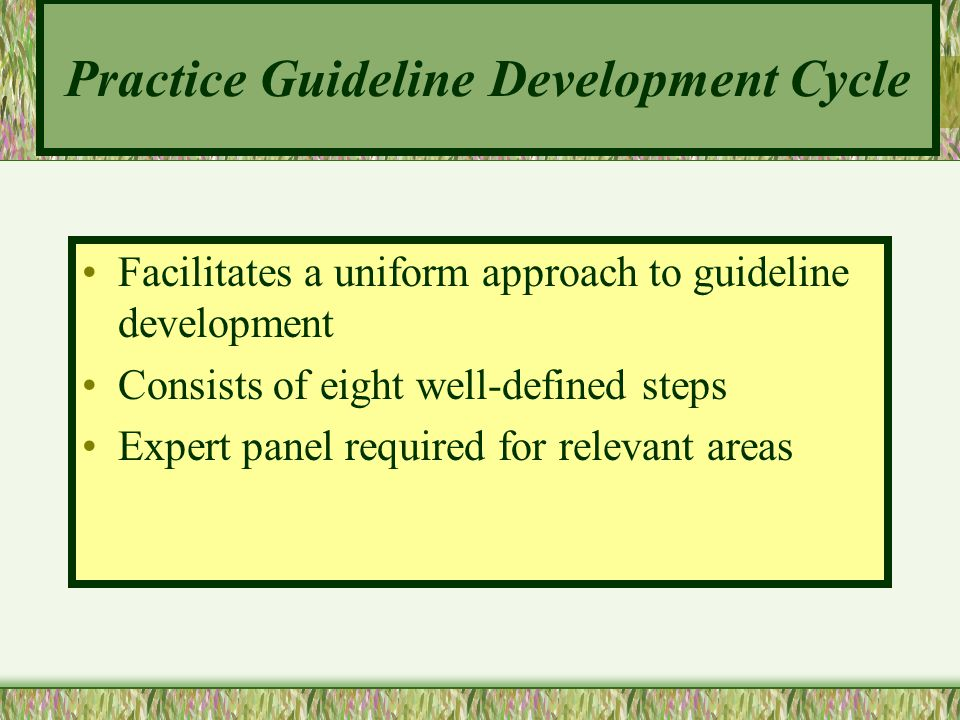 Practice Guideline Development Cycle Facilitates a uniform approach to guideline development Consists of eight well-defined steps Expert panel require