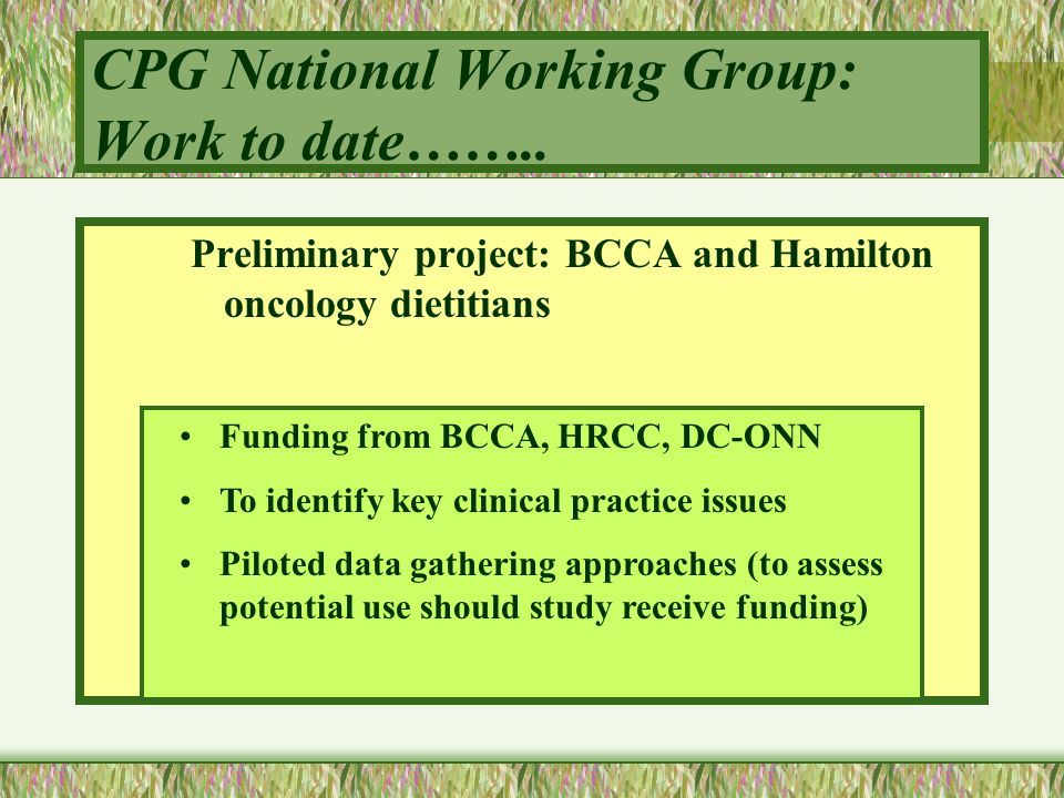 CPG National Working Group: Work to date…….. Preliminary project: BCCA and Hamilton oncology dietitians Funding from BCCA, HRCC, DC-ONN To identify ke