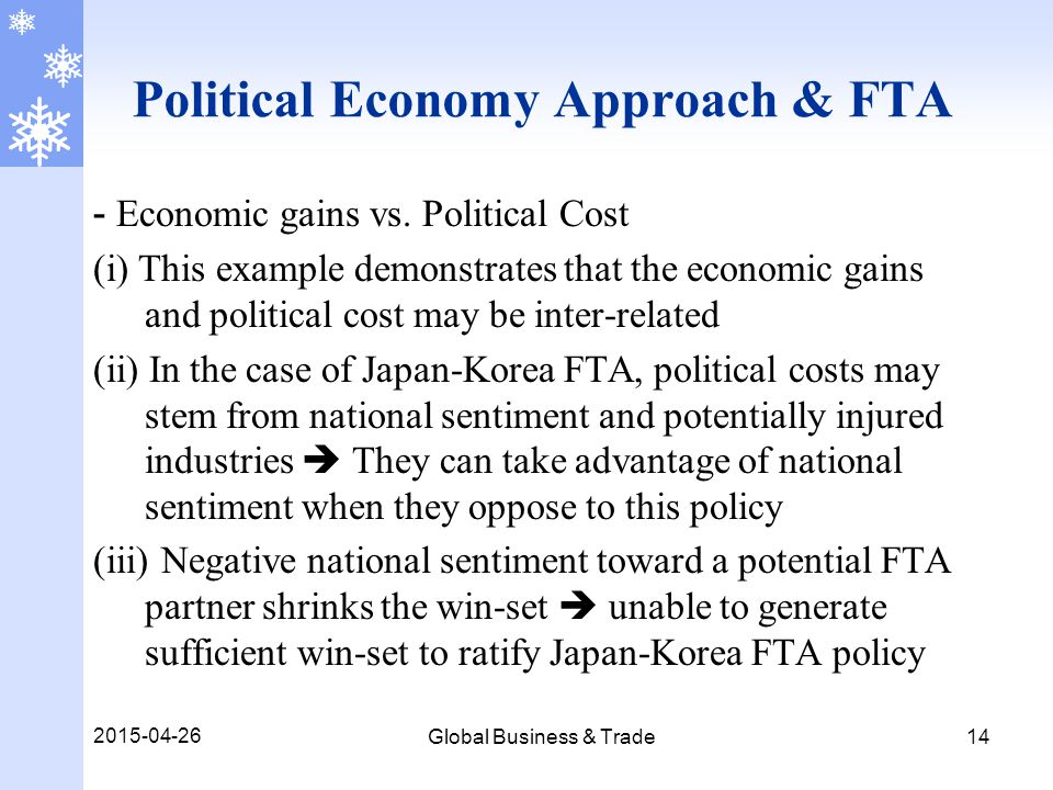 2015-04-26 Global Business & Trade 14 Political Economy Approach & FTA - Economic gains vs.