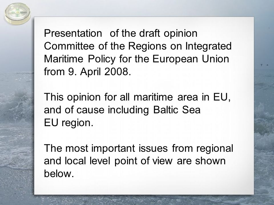  continues to advocate efforts to build up the capacities of local and regional authorities in order to secure mandatory funding, and to this end, set up a European Fund for Coastal Areas and Islands;