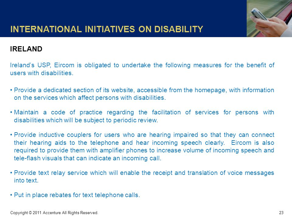 INTERNATIONAL INITIATIVES ON DISABILITY 23 Copyright © 2011 Accenture All Rights Reserved.