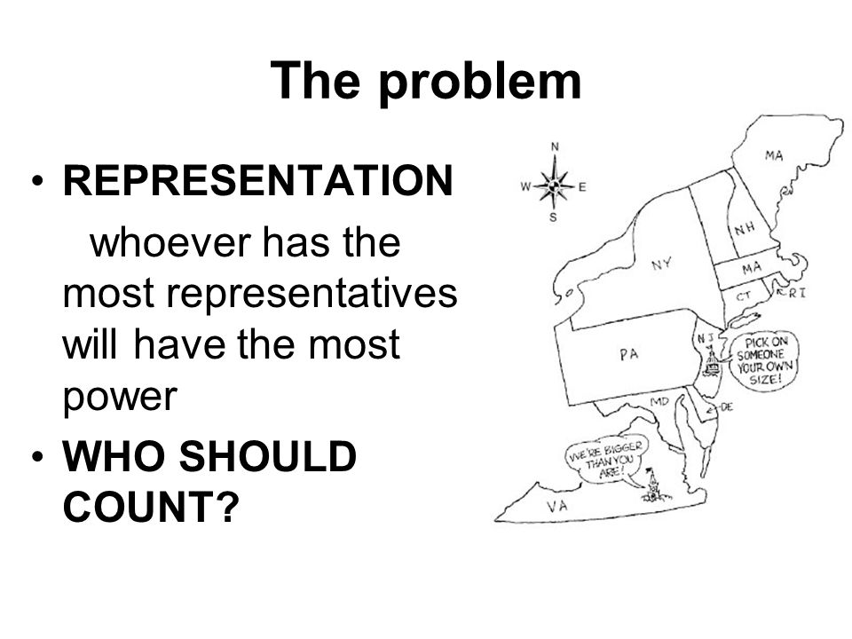 The problem REPRESENTATION whoever has the most representatives will have the most power WHO SHOULD COUNT