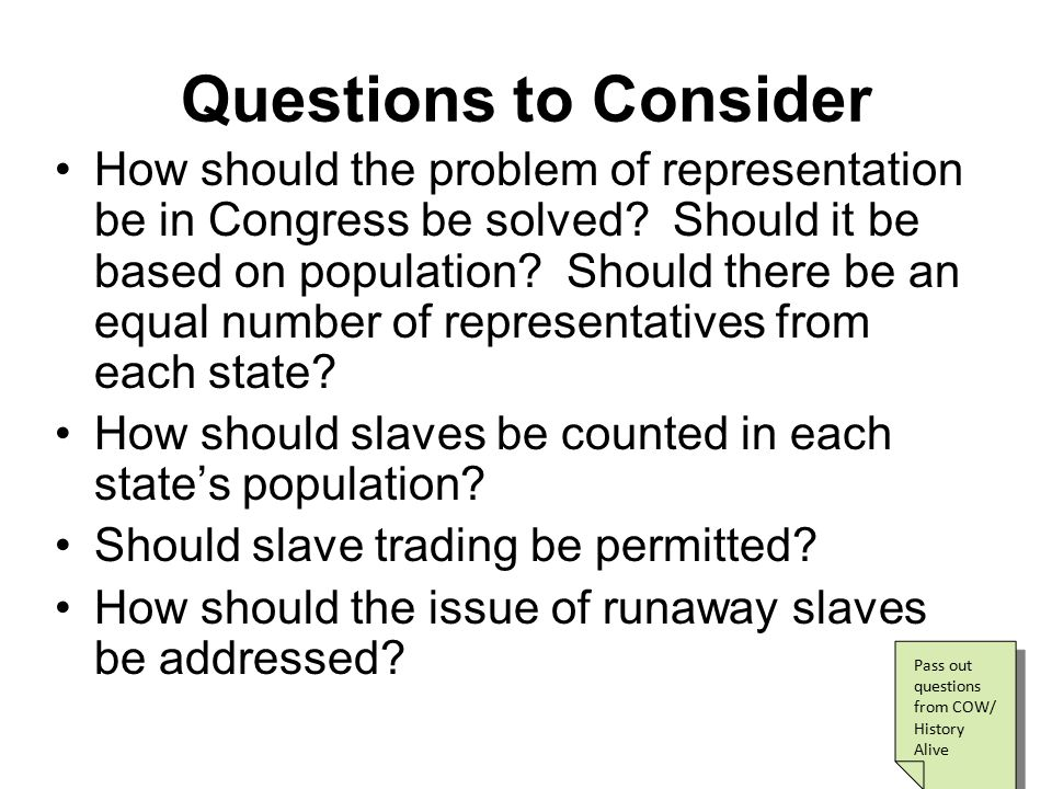 Two Ideas Take Shape Virginia Plan Edmund Randolph Number of legislative representatives for each state determined by the population of that state Therefore: If your state has more people, you get more representatives New Jersey Plan William Paterson Each state gets one representative vote, no matter the population